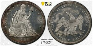 1868 $1 SEATED LIBERTY SILVER DOLLAR PCGS UNC DETAILS #42395711 EYE APPEAL!