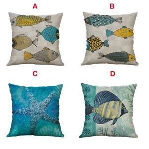 Cushion Cover Marine Life Linen Pillowcases Home Decor Kussenhoes Pillow Cover