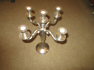 CANDLELABRA STAINLESS STEEL 4 ARMS + CENTRE HEAVY