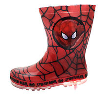 Marvel Spiderman Light Up Wellington Boots Super Hero Rain Wellies Boys Size
