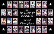 LOS ANGELES DODGERS 1981 World Series Vintage Baseball Card Custom Poster Decor