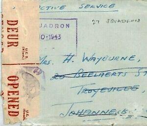 SOUTH AFRICA WW2 Cover *27 Squadron* PILOT SAAF Cachet 1943 Censor Tape CS354