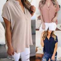 Women Ladies Summer Chiffon Short Sleeve Casual Shirt Tops Blouse T-Shirt V-Neck