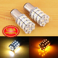 Motorcycle 1157 LED Amber White Dual Color Front Turn Signal Light Bulb For Dyna