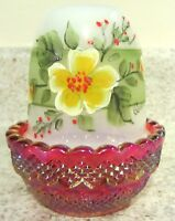 """Mosser Glass Red Carnival/Opal Handpainted """"Sunshine Blossom"""" Floral Fairy Lamp"""