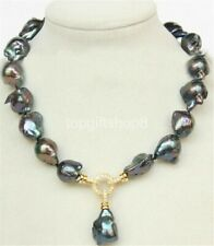 """pearls necklace filled gold clasp 18"""" 20mm Baroque black Reborn keshi"""