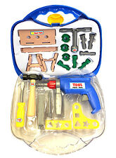 TOY TOOL BOX SET DRILL HAMMER WRENCH SCREWDRIVER CLAMP NAILS SCREWS & MORE