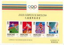 China Macau 1992 Olympic Barcelona Badminton Yachting Hockey stamp sheet MNH