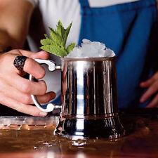 Stainless Steel Beer Tankard 450ml | Metal Pint Glass Handled Mug Cocktails Bar