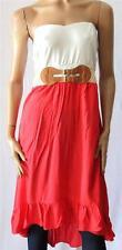 CROSSROADS Ivory Tomato Hi Low Crochet Belt Strapless Dress Size 12 BNWT [SO52]