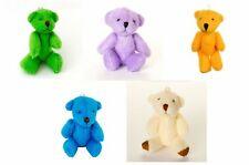 NEW - 5 X Assorted Small Cute Teddy Bears - Blue Green Orange Purple White