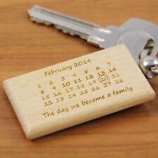 Personalised Wooden Family Calendar Keyring -Wooden Keyrings, Engraved Keyrings