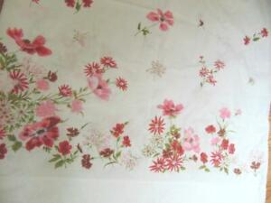 Vintage White TWIN FLAT Sheet with Red Flowers 100%  Soft Cotton 72 x 108 EUC