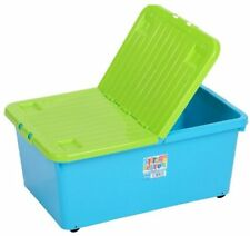 Wham Storage 32 Litre Plastic Under Bed Storage Box With Wheels and Folding Lid