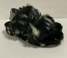 UGG BLACK FLUFF OH YEAH SPOTS SLIDE SHEEPSKIN SLIPPER SANDALS Size 7