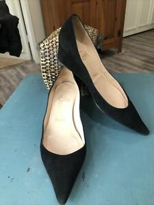 "Christian Louboutin Black Suede ""Pipina"" Low Cut Pointed Toe Wedge Pump 39.5"