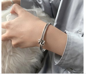 925 sterling silver Unique retro style knotted open bracelet jewelry gift