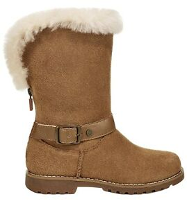 NIB UGG T Nessa Chestnut Suede Shearling Boots Size Little Kid US Size 6