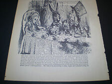1893. ORIGINAL DICTIONARY BOOK PAGE WITH VINTAGE ARTWORK OF ALICE IN WONDERLAND