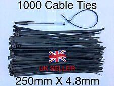 1000pcs BLACK CABLE TIES,  250mm X 4.8mm / SUPER STRONG NYLON TIES .....