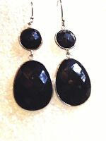 Vintage Genuine Faceted  Black Onyx 925 Sterling Silver Antique Dangle Earrings