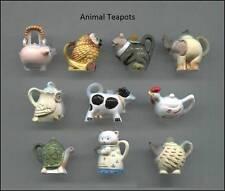 DOLLHOUSE MINIATURE PORCELAIN FIGURINE ANIMAL TEAPOT SET,Hedgehog,Owl,Turtle