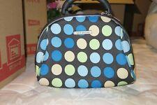 Brand New Luca Vergani Brown W/Blue Polka Dots Purse Make-Up Travel Bag W/ Strap