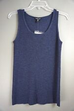 819f2790fae385 EILEEN FISHER Navy Blue Knit Cotton Stretch Tank Top S Casual T shirt Wool   1024