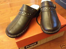 NIB New Propet Bronco Brown Santa Barbara Leather Slip-on Mule Shoes sz 6.5 M