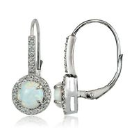 Sterling Silver .9ct Created White Opal and White Topaz Round Leverback Earrings