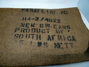 """Vintage Burlap Seed Sack Gunny 25 KG. Bag USE NO HOOKS 21"""" x 37"""" South Africa"""