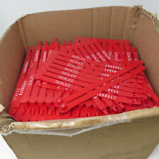 Lot of 350 Single Use Sequential Sealed Red Plastic Lockout Tags