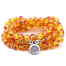 8mm 108 Pcs Amber Stone Round Lotus Bead Buddha Mala Stretch Bracelet Necklaces