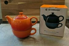 LE CREUSET FLAME ORANGE TEA FOR ONE- TEAPOT AND CUP-10oz-NEW IN BOX