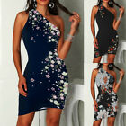 Womens One Shoulder Floral Mini Dress Ladies Summer Bodycon Clubwear Dresses