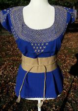 Maya Mexican Blouse w/Belt Faja Top Shirt Embroidered Geometric Chiapas M 444