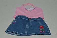 Build A Bear Clothing~Pink Tank Top With Rhinestones~Blue Denim Flower Skirt~G5