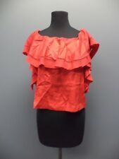 RACHEL ZOE Red Sleeveless Ruffle Crew Neck Casual Solid Blouse NWT Sz 2 EE0024