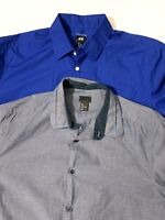 Lot of 2 H&M Mens Size Large Long Sleeve Button Down Shirts Casual Blue