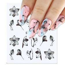 Nail Art Water Decals Stickers Transfers Black Flowers Tulips Floral Petals 883