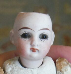 Antique Unusual Bisque & Composition Dollhouse Doll Fixed Eyes Closed Mouth 1562