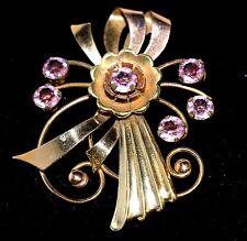 VINTAGE HARRY ISKIN BROOCH PIN~1/20 12kt GF~Amazing Flower Design~Pink Stones