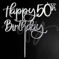 Happy 50th Birthday Cake Topper Acrylic Rose Gold Silver Mirror Black Glitter FD