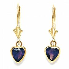 Women/Children 14K Gold Amethyst February Birthstone Dangle Heart Shape Earrings