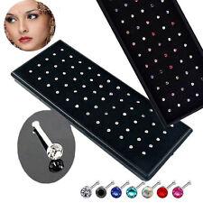 60x Rhinestone Crystal Nose Ring Bone Stud Stainless Steel Body Piercing Jewelry