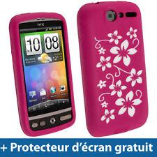 Étuis, housses et coques roses en silicone, caoutchouc, gel pour téléphone mobile et assistant personnel (PDA) HTC
