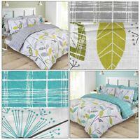 ALLIUM Floral Tartan Check Reversible Duvet Cover Quilt Cover Set Bedding Set