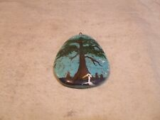 Native American Turquoise Stone Pendant ~ Hand Painted Tree /w Birds