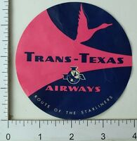 1940's-50's Trans-Texas Airways Luggage Label Poster Stamp Vintage Pink Blue E8