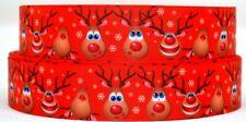 "Grosgrain Ribbon Ribbon 7/8"" & 1.5"" Christmas Rudolph Printed."